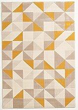 Design Teppich Canvas Dreieck grau - gelb 120 x 170 cm