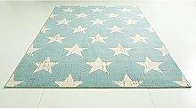 Design Teppich Canvas Stars hell blau 120 x 170 cm