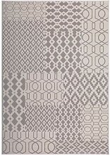 Design Teppich in Taupe Patchworkmuster