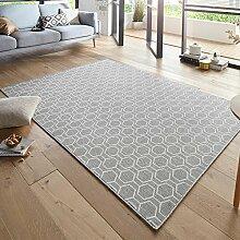 Design Teppich Schlingenteppich Novalie Grau Creme, Größe:80x150 cm