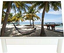 Design-Tisch Hängematte am Strand B x H: 90cm x 55cm von Klebefieber®