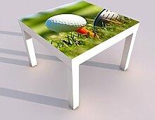 Design - Tisch mit UV Druck 55x55cm Ball Golf