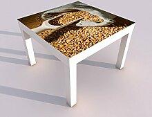 Design - Tisch mit UV Druck 55x55cm Hafer Korn