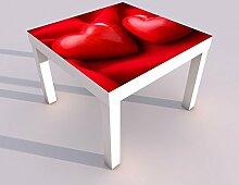 Design - Tisch mit UV Druck 55x55cm Herz Herzen