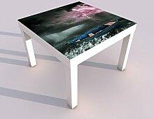 Design - Tisch mit UV Druck 55x55cm Hurrikan