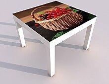 Design - Tisch mit UV Druck 55x55cm Johanisbeere