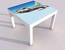 Design - Tisch mit UV Druck 55x55cm Kampfjet F16