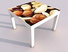 Design - Tisch mit UV Druck 55x55cm Nuss Nüsse