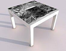 Design - Tisch mit UV Druck 55x55cm schwarz weiß