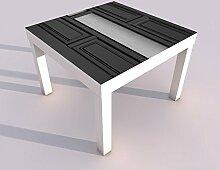 Design - Tisch mit UV Druck 55x55cm schwarz weiss