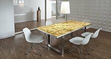 Design-Tisch / Schreibtisch / hochwertige Tischplatte / Esstisch / Arbeitstisch / Bürotisch / Kacheln / Goldoptik / DIY / in zwei Größen erhältlich / ab 149 Euro / Über 50% Aktionsrabatt (Mit Tischuntergestell Edelstahloptik, 200x100 cm)