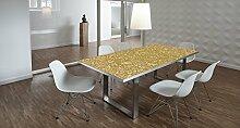 Design-Tisch / Schreibtisch / hochwertige Tischplatte / Esstisch / Arbeitstisch / Bürotisch / Goldoptik / DIY / in zwei Größen erhältlich / ab 149 Euro / Über 50% Aktionsrabatt (Mit Tischuntergestell Edelstahloptik, 180x90 cm)