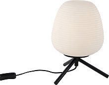 Design Tischlampe schwarz 20 cm mit Opalglas - Hero
