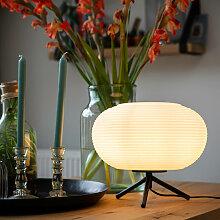 Design Tischlampe schwarz 33 cm mit Opalglas - Hero