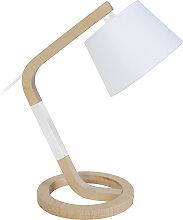 Design-Tischlampe Zirkelfuß Holz Weiß TRIPOD