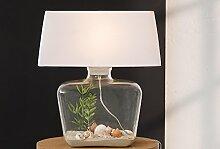 Design Tischleuchte Glas Stoff Weiß 50cm