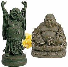 Design Toscano Ausgelassener Hotei und Heiligtum des Lachenden Buddha, Figuren-Se