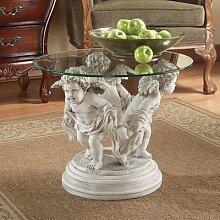 Design Toscano Berninis Cherubinen, Skulpturaler Beistelltisch mit Glasplatte