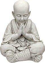 Design Toscano Betender junger Buddha, asiatische Gartenskulptur, Kunstharz, Elfenbein, 34.5 x 39.5 x 52 cm