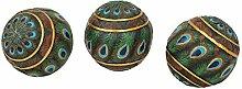 Design Toscano Dekorative Kugeln mit Pfauenmotiv: 3er-Se
