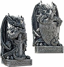 Design Toscano Der Artusdrache, Figuren: Set aus Drache mit Schwert und Drache mit Schild
