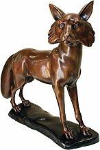 Design Toscano Der wachsame stehende Fuchs, Gartenfigur aus Bronzeguss