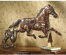 Design Toscano Figur Saddler's Row Metal Horse Wall Frieze, beige