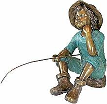 Design Toscano Fischersjunge Gartenstatue, Bronze,