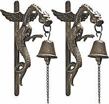 Design Toscano Florentinische gotische Drachen-Türglocke aus Eisen: 2er-Se