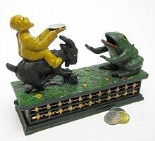 Design Toscano Frosch und Ziege, Mechanische Sammlerspardose aus Eisen-Druckguss