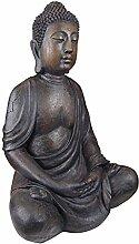 Design Toscano Gartenfigur Meditierender Buddha des großen Tempels: Groß, tan, 48,5 x 68,5 x 101,5 cm, AL1160