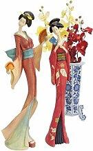 Design Toscano Japanische Maiko-Geisha mit Fächer, Tanzende Figur: 2er-Se