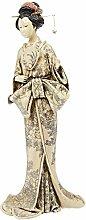 Design Toscano Japanische Okimono-Geisha, Elfenbeinimitat: Den Spiegel haltend