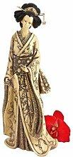 Design Toscano Japanische Okimono-Geisha, Elfenbeinimitat: Den Fächer haltend