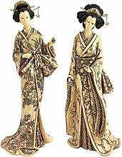 Design Toscano Japanische Okimono Geisha-Kollektion, Elfenbeinimitat: Den Spiegel haltend und Den Fächer haltend