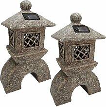 Design Toscano Japanische Pagode, Beleuchtete Laterne: 2er-Se