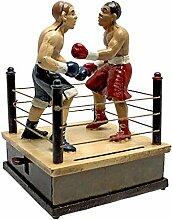 Design Toscano Kämpfende Boxer, Mechanische Spardose aus Eisen-Druckguss