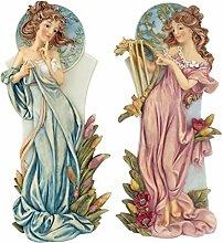 Design Toscano Mädchenfiguren Jugendstil Frühling und Sommer, mehrfarbig, 9 x 12,5 x 28 cm, SH989121