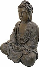 Design Toscano Meditierender Buddha des großen Tempels Mittel - Sitzende Gartenfigur
