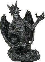 Design Toscano Mittelalterlicher Handyhalter Versilius die Drachenstatue, Steingrau
