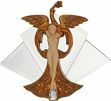 Design Toscano Pfauenprinzessin, Wandfigur mit Spiegelhintergrund im Jugendstil
