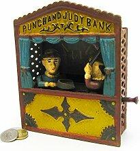 Design Toscano Punch und Judy -Theater, Mechanische Sammlerspardose aus Eisen-Druckguss