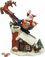 Design Toscano Santas Weihnachts-Schlittenfahrt, Mechanische Spardose aus Eisen/Druckguss