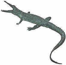 Design Toscano Schnappender Alligator, Gartenstatue aus Bronzeguss