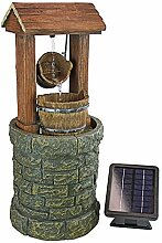 Design Toscano solarbetriebene Wishing Well Springbrunnen Wasser Funktion mit LED Lichter, Full Color Realistische