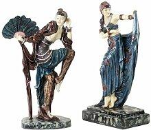 Design Toscano Sunburst- und Fächertänzer, Art Deco Tänzerskulptur