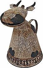 Design Toscano Tierwasserbehälter Metall Gießkanne Kuh, bronze, 24 x 18 x 26,5 cm, FU66894