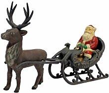 Design Toscano Weihnachts-Santa auf Schlitten mit Rentier, Statue aus Eisen-Druckguss