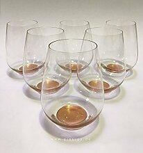 Design Trinkglas, Bronze, 6er Set, Universalglas,