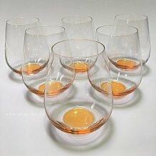 Design Trinkglas, O-Glas, Weinglas, Wasserglas, 6er Set Gläser für Rotwein, Weißwein, Wasser, Saft, Cocktails, Tischlicht, Windlicht, farbig, bunt, Farbe orange. Stilvolle Impressionen